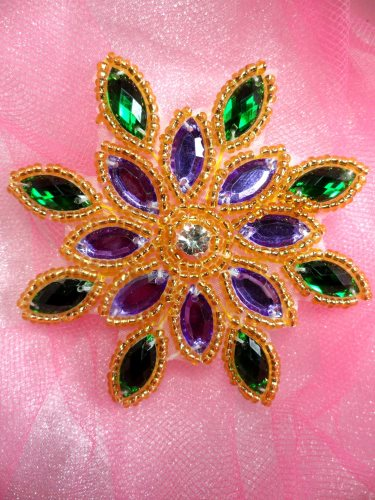 XR32 Mardi Gras Snowflake Jewel Beaded Applique 3\