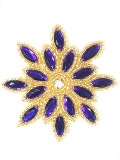 XR32  Applique Light Purple Gold Beaded Snowflake Jewel Beaded 3\