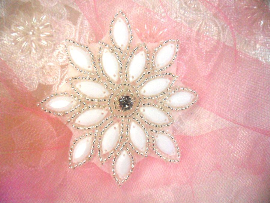 Fashion cm white decoration beaded applique embroidery