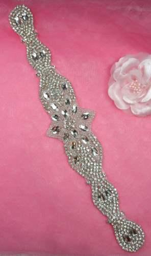 XR321 Bridal Sash Motif Silver Beaded Crystal Rhinestone Applique 11.75