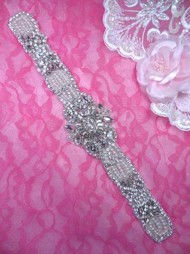 XR322 Bridal Sash Motif Silver Beaded Crystal Rhinestone Applique w/ Pearls 12.25\