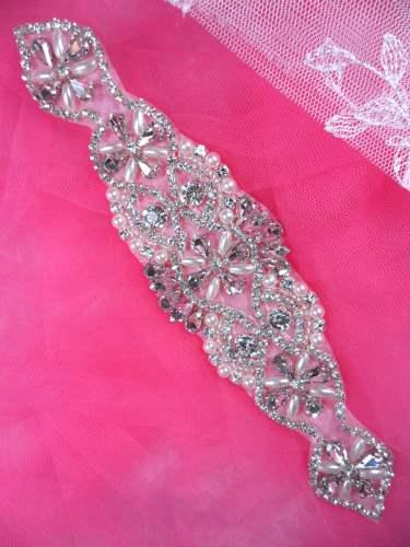 XR323 Bridal Sash Motif Silver Beaded Crystal Rhinestone Applique w/ Pearls 8\