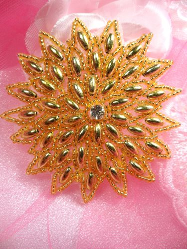 XR33 Snowflake Star Applique Gold Beaded Sewing Patch  3.25\