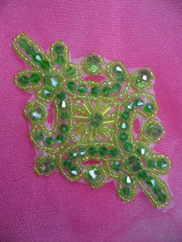 XR332 Victorian Lime Green Beaded Applique Sewing Patch Motif 4\