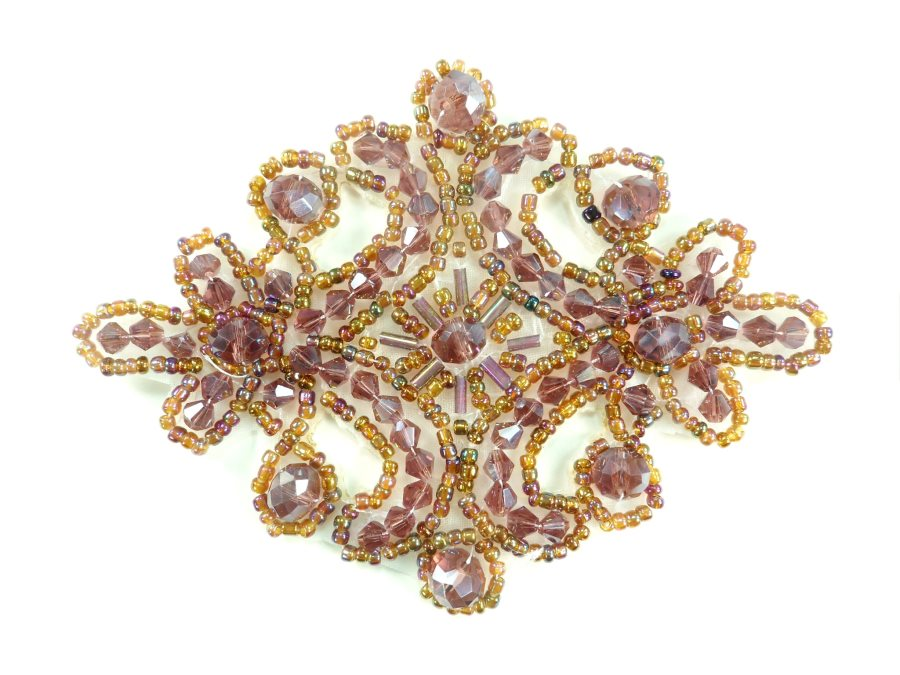 Victorian Plum AB Beaded Applique Sewing Patch Motif 4 XR332