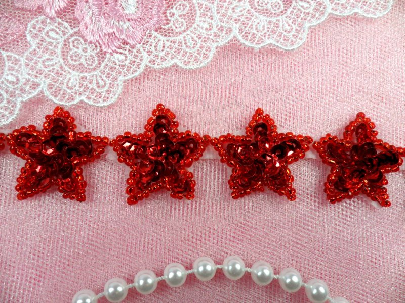 Star Trim Red Sequin Beaded Iron On 1 Banding (XR359-rd)