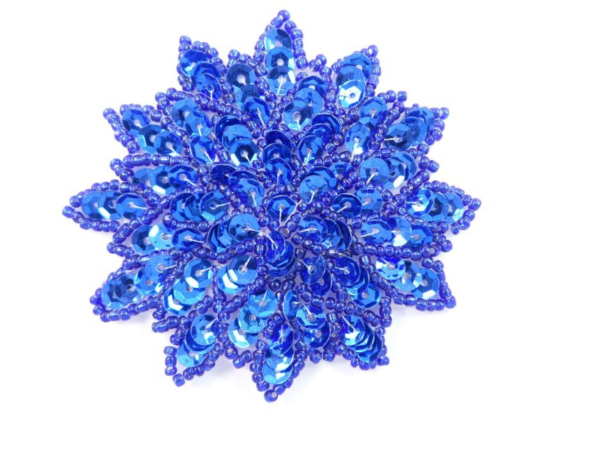 Blue Sequin Applique Floral Beaded Iron on Patch 3  XR364