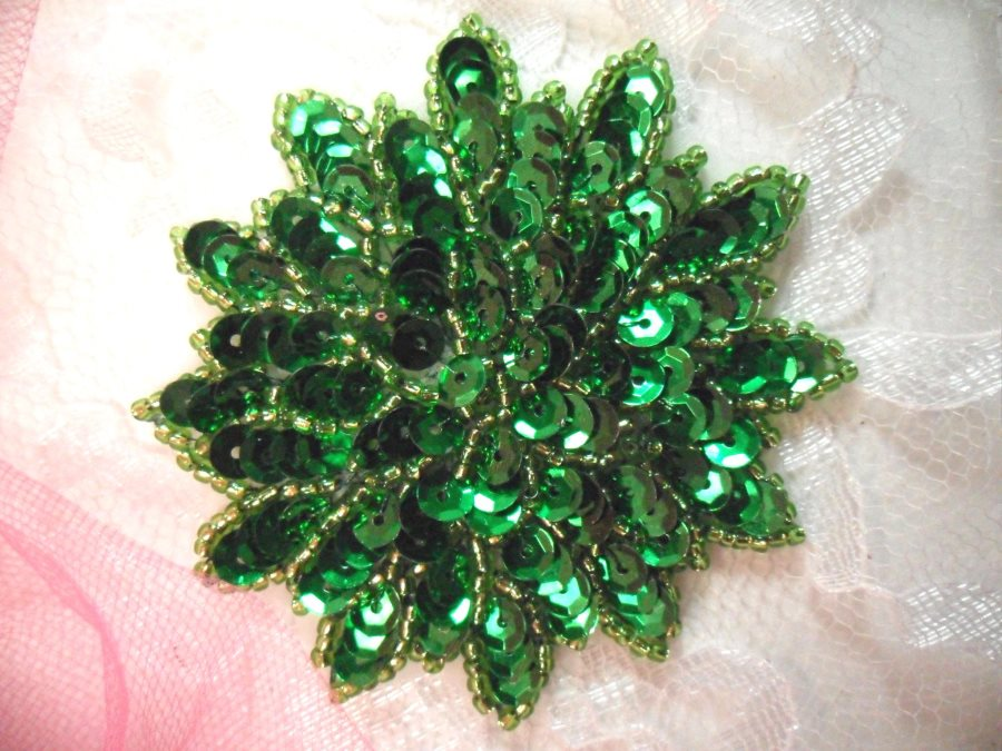 Green Sequin Applique Floral Beaded Iron on Patch 3 (XR364)