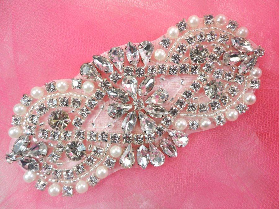 Bridal Applique Silver Crystal Clear Rhinestone w/ Pearls for Bridal Accessories 4.5 (XR365)