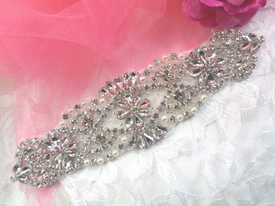 Bridal Applique Silver Crystal Clear Rhinestone Motif  w/ Pearls 7.25 (XR366)