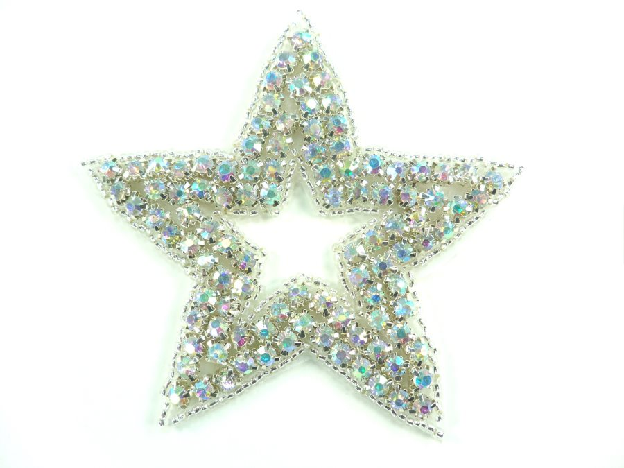 Star Applique Crystal AB Aurora Borealis Rhinestones Silver Beads Dance Costume Patch Iron on 3.25  XR367