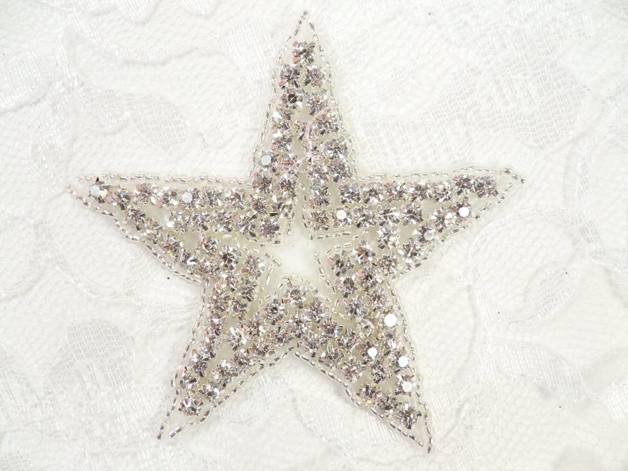 Star applique crystal rhinestone silver beads dance costume