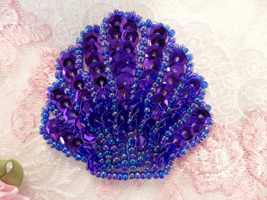 Seashell Applique Sequin Beaded Purple Nautical Patch 2 (XR369)