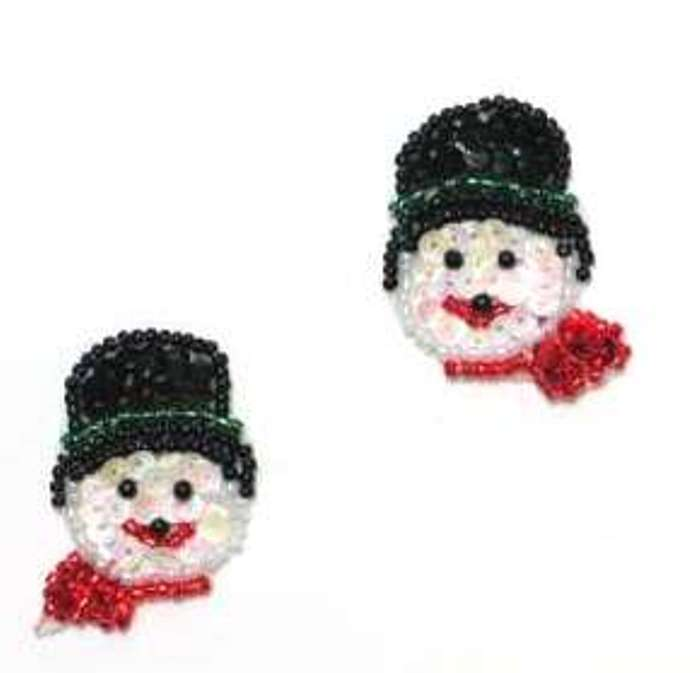 Set of 2 Snowman Face Appliques Sequin Beaded Mirror Pair Stocking Ornament Decorations 1.5 XR387