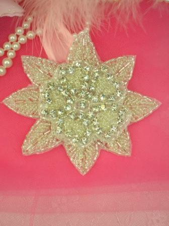 XR48 Silver Beaded Floral Crystal Clear Rhinestone Applique 4\