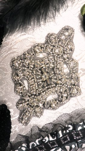 XR5  Black Backing Applique Alexis Glory Crystal Rhinestone Silver Beaded  4\