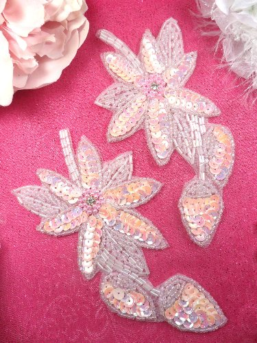 XR51 Light Pink Crystal Aurora Borealis AB Floral Mirror Pair Beaded Sequin Appliques 6\