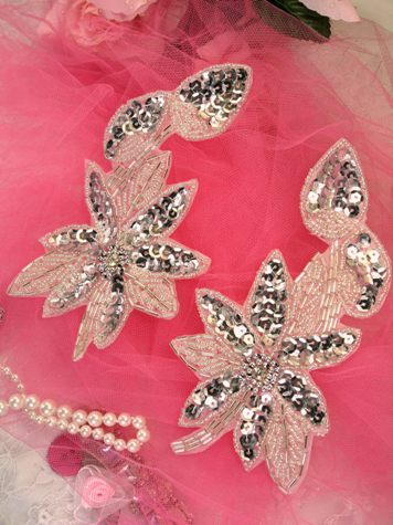 XR51 Silver Floral Mirror Pair Beaded Sequin Appliques 6