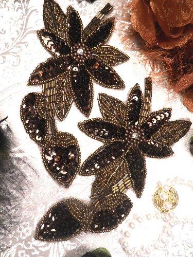 XR51 Bronze Floral Mirror Pair Beaded Sequin Appliques 6