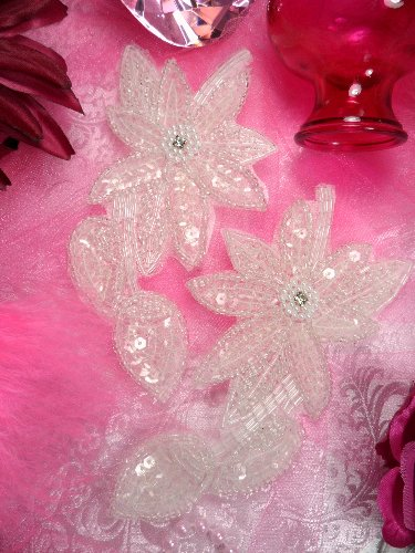 XR51 Crystal Floral Mirror Pair Beaded Sequin Appliques 6