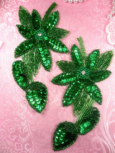 XR51  Kelly Green Floral Mirror Pair Beaded Sequin Rhinestone Centered Appliques 6