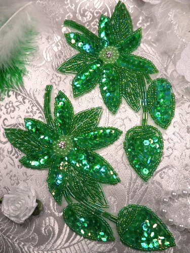 REDUCED RMXR51 Crystal Aurora Borealis Green AB Floral Mirror Pair Beaded Sequin Appliques 6