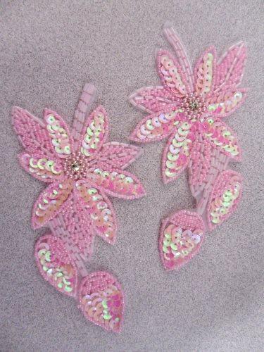 XR51 Pink Aurora Borealis AB Floral Mirror Pair Beaded Sequin Appliques 6