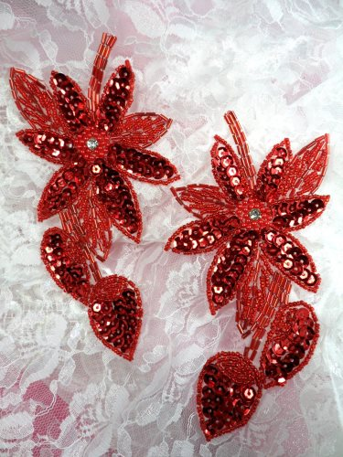 XR51 Appliques Red Floral Mirror Pair Beaded Sequin 6