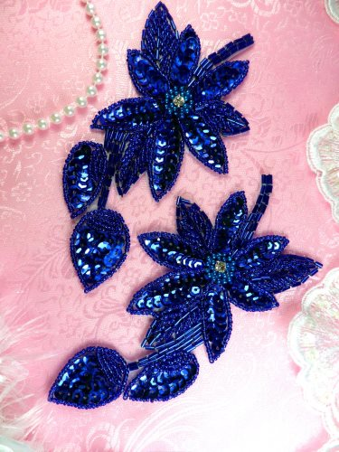 XR51 Sequin Rhinestone Centered Appliques Blue Floral Beaded Mirror Pair 6