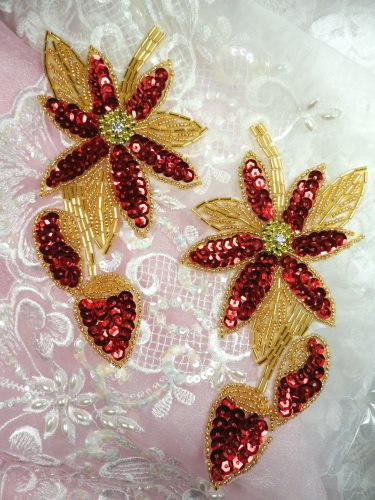 XR51 Appliques Red Gold Floral Mirror Pair Beaded Sequin  6