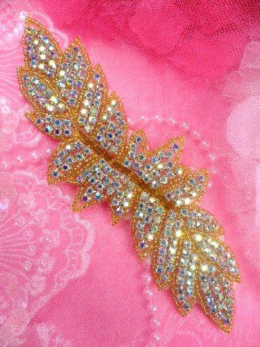 XR55 Gold Beaded Aurora Borealis Crystal AB Rhinestone Applique 7\