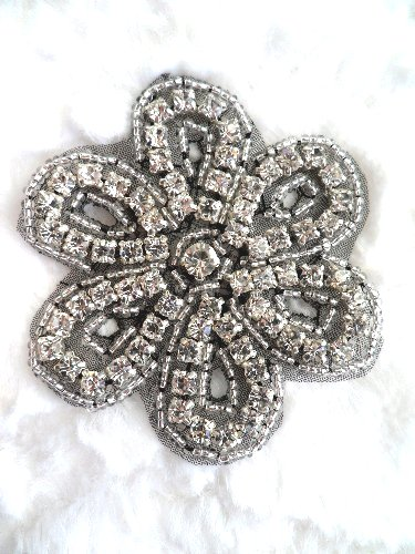 XR65 Black Backing Floral Silver Beaded Crystal Rhinestone Applique 2.75\ Hot Fix Iron on