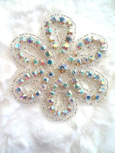 XR65 Crystal AB Aurora Borealis Floral Silver Beaded Rhinestone Applique 2.75\ Hot Fix Iron on
