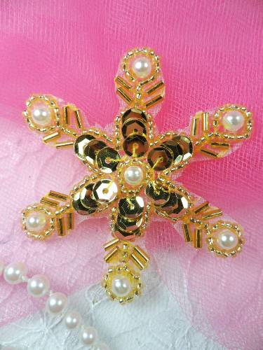 XR72 Gold Pearl Snowflake Beaded Sequin Applique 2.5\