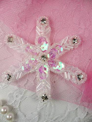 XR74 Crystal AB Snowflake Beaded Sequin Applique 2.5