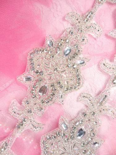 Rhinestone Trim Silver Beaded With Crystal Costume Designers Dream 34 x 2.5 XR75