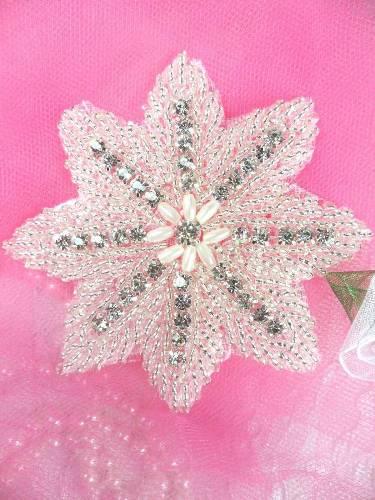 XR77 Silver Beaded W/ Pearls Floral Crystal Rhinestone Applique 3.5