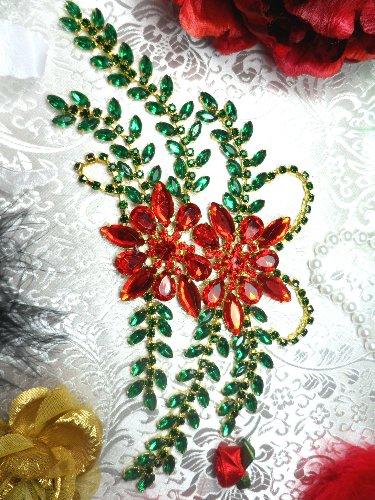 XR83 Poinsettia Christmas Rhinestone Applique Embellishment 9\ with Gold Backing