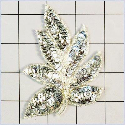 FS476 Leaf Applique Sequin Silver Beaded Motif 4\