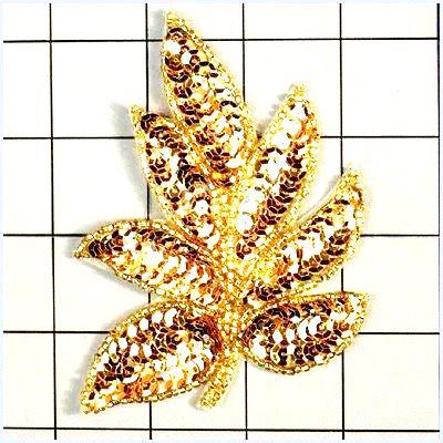 FS476 Leaf Applique Sequin Gold Beaded Motif 4\