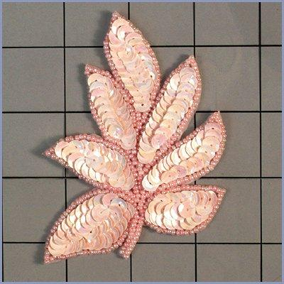 FS476 Leaf Applique Sequin Ceylon Pink Beaded Motif 4\