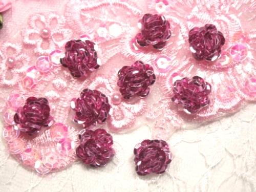 0248  Set of 9  Mauve Sequin Flower Appliques 1/2\