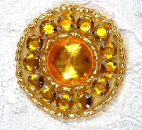 ACT/0379   Gold Rhinestone Round Beaded Applique 1.25\
