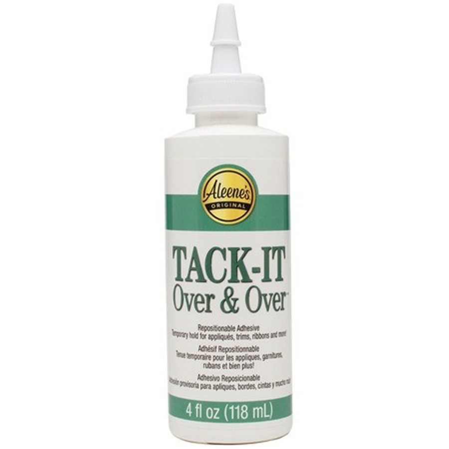 Aleene's Tack-It Over & Over Fabric Glue Repostionable Temporary Remove and Apply Appliques Numerous times 4 Oz.