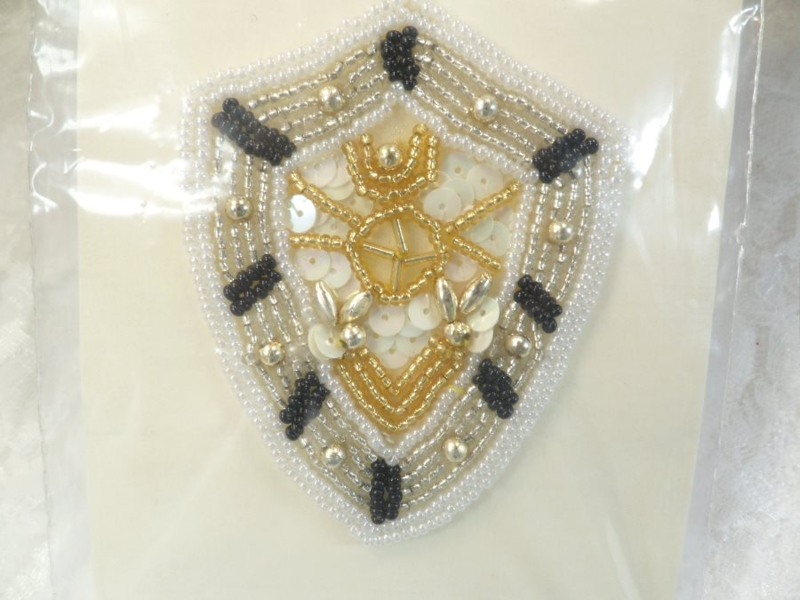 Nautical applique sequin beaded patch motif white black self