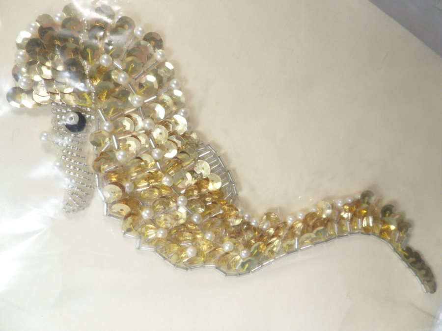 Seahorse Applique Sequin Beaded Patch Motif Gold With Pearls Self Adhesive 7.5 (LC1699)