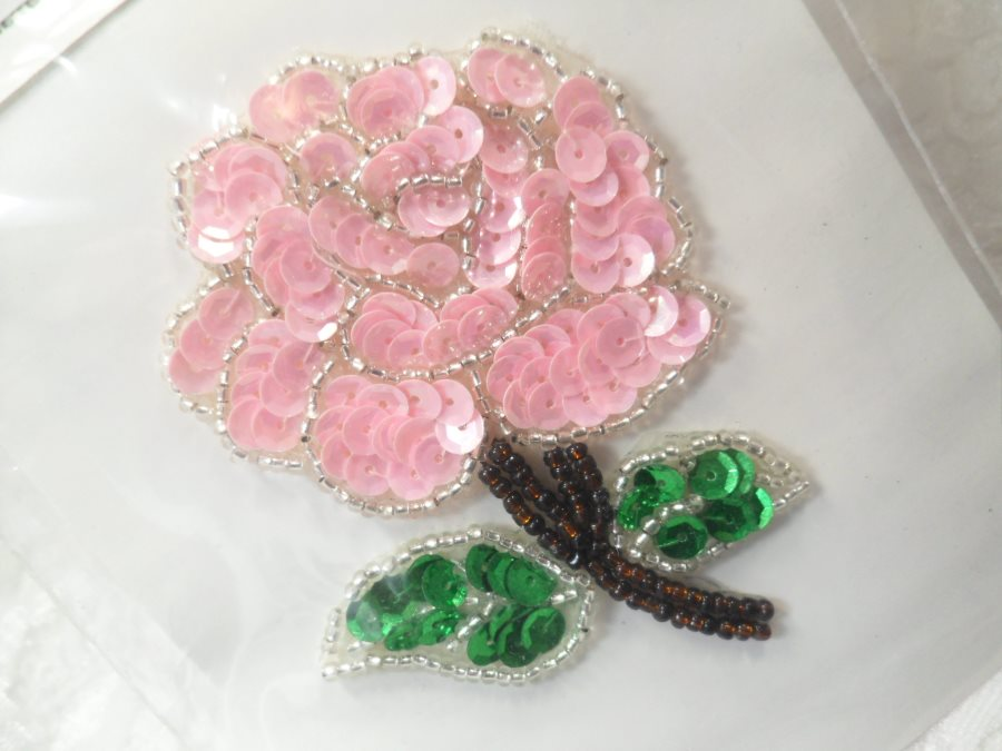 Floral Applique Sequin Beaded Patch Motif Pink Self Adhesive 3.25 (LC1651)