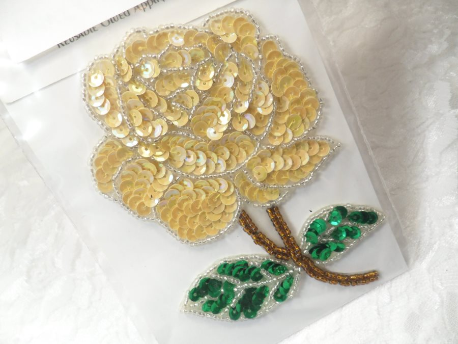 Floral Applique Sequin Beaded Patch Motif Gold Self Adhesive 4.75 (LC1649)