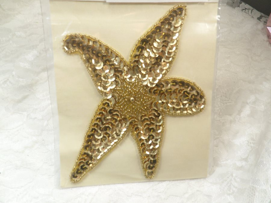 Star Applique Sequin Beaded Patch Motif Gold Self Adhesive 6.25 (LC1704)