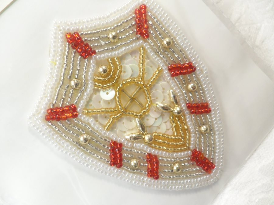Nautical applique sequin beaded patch motif white red self
